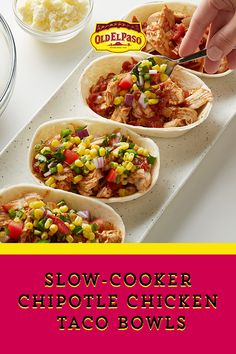 Corn-Jalapeño Salsa and the magic of Old El Paso Slow Cooker Seasoning take these tacos over the top! Crock Pot Slow Cooker, Crock Pot Cooking, Slow Cooker Recipes, Crockpot Recipes, Chicken Recipes, Cooking Recipes, Healthy Recipes, Mexican Food Recipes, Dinner Recipes