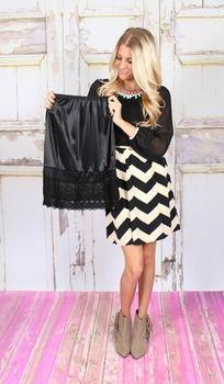 RESTOCK!!! Black Lace Long Skirt Extender - Modern Vintage Boutique