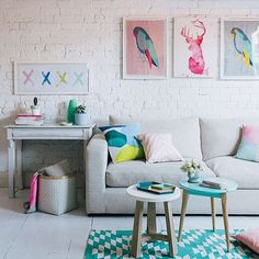 """""""Such a fun and colorful living area! Photo by @hannahblackmore #livingroom #colorfulinterior #interiordecorating #styling"""""""