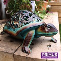 Primus Ornate Metal Hand Painted LED Solar Tortoise Garden Ornament for sale online Garden Animals, Garden Ornaments, Tortoise, Turtle, Diy And Crafts, Solar, Home And Garden, Hand Painted, Puppies