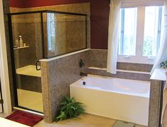 Acrylic bathrooms look better than tile and fiberglass and comes with a LIFETIME warranty! New Home Windows, House Windows, Bathroom Photos, Bathrooms, Bath Or Shower, Shower Remodel, Exterior Doors, Bathroom Remodeling, Corner Bathtub