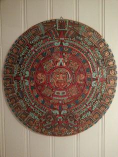 Aztec calendar paint diy red turquoise mint gold