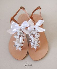 Bridal Shoes - handmade leather sandals decorated with white,clear and silver beads on Etsy, $59.15