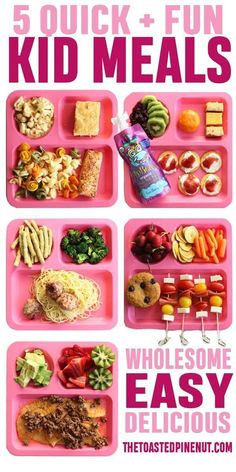FIVE quick, fun, delicious, and wholesome Kid's Meals that I know your little ones will love! I'm sharing what my kids ate and what they liked! health activities health care health ideas health tips healthy meals Healthy Toddler Meals, Toddler Snacks, Healthy Meals For Kids, Healthy Choices, Kid Snacks, Toddler Dinners, Quick Meals, Healthy Dinners, Easy Kids Dinner Recipes