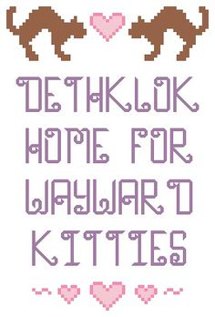 Metalocalypse wayward kitties cross stitch by lexysaurusrex, $4.00 I need to learn to cross stitch now