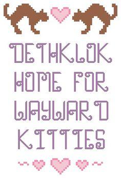 Metalocalypse wayward kitties cross stitch by lexysaurusrex, $4.00 I need to learn to cross stitch now