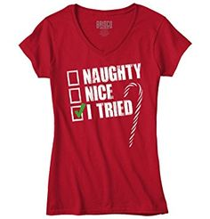 Naughty Humor Christmas Funny Shirts Gift Ideas Cool Quote Junior V-Neck Tee *Click image to check it out* (affiliate link)
