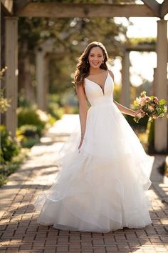 Wedding Dress 6988 by Stella York - Search our photo gallery for pictures of wedding dresses by Stella York. Find the perfect dress with recent Stella York photos. Best Wedding Dresses, Designer Wedding Dresses, Bridal Dresses, Wedding Gowns, Wedding Dresses With Ruffles, Flattering Wedding Dress, Layered Wedding Dresses, Wedding Dress Shapes, Minimal Wedding Dress