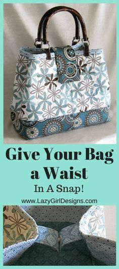Easy tote bag pattern tutorial to add a magnetic snap closure and cinch the top of the bag for an instant 'waist' and a sleek look. #EasyBagTutorial  #BagPattern #MagneticClosure  #SewingTutorial #DIY #Sewing   #MagneticSnap
