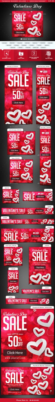 Valentines Day Banners — Photoshop PSD #template #social media • Available here → https://graphicriver.net/item/valentines-day-banners/14752765?ref=pxcr