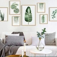 Wall Hangings Green Fresh Plant Leaf Canvas Print Wall Picture Home Sofa Modern Nordic Decor & Garden Leaf Wall Art, Wall Art Decor, Wall Art Prints, Leaf Art, Canvas Prints, Leaf Prints, Interior Design Minimalist, Minimalist Decor, Modern Minimalist