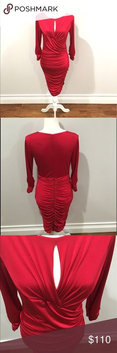 "Tadashi Shoji Cocktail Dress Ravishing red Tadashi Shoji red ruched cocktail dress. With keyhole opening under the neckline, ruching on bust, waist, bottom and sleeves., zip up back, fully lined Size Small, 93% polyester, 7% spandex 100% sexy. Very flattering an all body types! Measures 38"" from top to bottom, 16 1/2"" from underarm to underarm, 18"" sleeves. Worn once. Tadashi Shoji Dresses Long Sleeve"