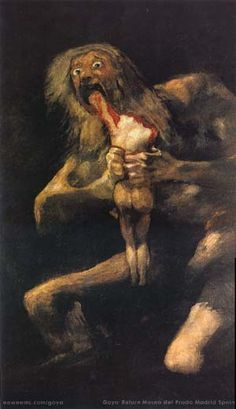 "Saturn Devouring His Son, 1820-1823, Francisco de Goya, Oil on Plaster, 146 cm x 83 cm, housed in the Prado, Madrid.  One of Goya's ""Black Paintings""."