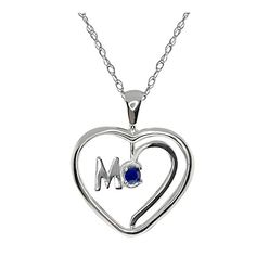 Sterling Silver Spinning Mom Heart Shape Sapphire Pendant with 18 Chain -- You can find out more details at the link of the image.