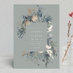 """Fantasy"" - Foil-pressed Wedding Invitations in Noir by Lori Wemple. #weddinginvitation"