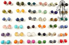 Create your own studs earrings!!! - Choose from 42 gemstones, bead size 0.23 inches (6 mm); - Out of stock for rose quartz; - Non Tarnish Enameled Silver Plated or Non Tarnish Enameled Gold Plated; - Silicone Stud Stoppers; Gemstones have played various roles in the myths and