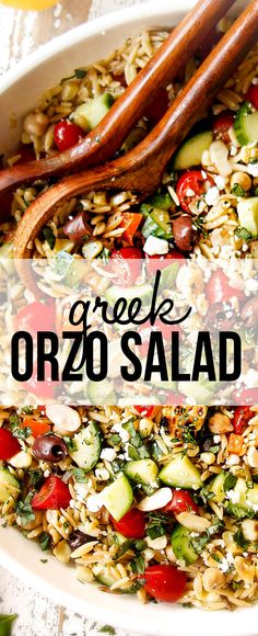 Orzo Pasta Salad bursting with your favorite Greek fixings on your table in 30 minutes!  It's easy to make, exploding with a rainbow of bright flavors and textures and the orzo pasta salad can be made ahead of time for the perfect stress-free win!   #recipes #easyrecipe #recipes #recipeoftheday #recipeideas #recipeseasy #greekgood #greekrecipes #feta #olives #lemon #tomatoes #corn #pastasalad #salad #saladrecipe #recipe #orzo #potluck #potlucksalad #siderecipe via @carlsbadcraving Pasta Salad Ingredients, Pasta Salad Recipes, Coleslaw Recipes, Greek Salad Pasta, Soup And Salad, Tortellini Salad, Side Recipes, Greek Recipes, Kitchen Recipes