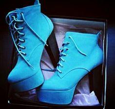 Blue hight heel booties