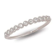 This delicate and dainty white gold diamond band features twelve bezel-set diamonds attractively linked together. Gold Diamond Band, Diamond Wedding Bands, White Gold Diamonds, Solitaire Diamond, Diamond Anniversary Bands, White Gold Wedding Bands, Solitaire Rings, Ruby Rings, Rose Gold