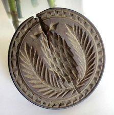 "antique 3.7"" EARLY DARK WOOD BUTTER WHEAT COOKIE MOLD STAMP folk art AAFA walnut"