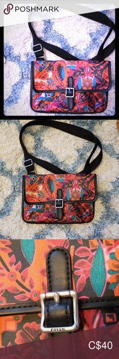 Fossil cross body purse This is a small fossil cross body bag with canvas material on the outside. Fossil Bags Crossbody Bags