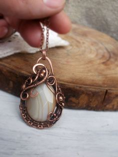 Botswana Agate Pendant Necklace  Wire copper by ChervoniKoraliArt