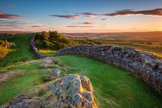 Hadrians Wall near sunset at Walltown, which is a World Heritage Site in the beautiful Northumberland National Park. Popular with walkers along the Hadrians Wall Path and Pennine Way Stock Photo , Northumberland National Park, Northumberland England, Hadrian's Wall, Warwick Castle, York Minster, Scottish Islands, Herefordshire, Westminster Abbey, Best Hikes