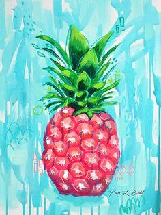 Pink Pineapple Aqua Splash Preppy Painting Kate L. Dodd
