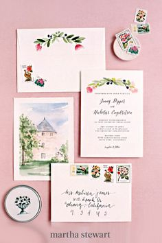 Alternatively, include a watercolor painting of your wedding venue—like Chez la Marieé did here on this Minted stationery—to get guests excited about their upcoming travels. #weddingideas #wedding #marthstewartwedding #weddingplanning #weddingchecklist Green Wedding Invitations, Wedding Stationary, Vow To Be Chic, Casual Wedding, Elegant Wedding, Watercolor Wedding Invitations, Martha Stewart, Garden Wedding, Wedding Colors