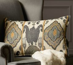 Chiara Ikat Lumbar Pillow Cover | Pottery Barn.  The lumber version is pretty too!