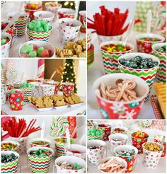 Lots of candy to decorate with at a Christmas party! See more party planning ideas at CatchMyParty.com!