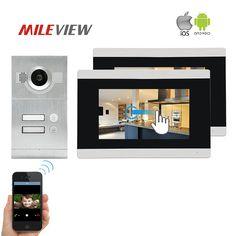 7 zoll verdrahtete Videosprechanlage HD System 2 Monitor 1 Klingel ...