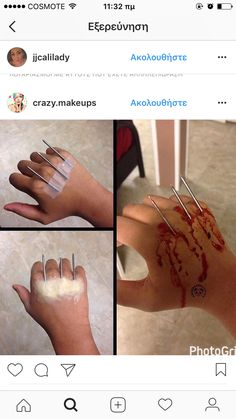 i like this better with the nails pointing in. Makeup Fx, Scary Makeup, Diy Makeup Effects, Special Effects Makeup Gore, Wound Makeup, Halloween Makeup Looks, Halloween Kostüm, Horror Costume, Special Makeup
