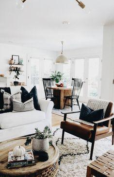 Neutral Home Decor | Modern Farmhouse Home Decor | Industrial Home | Open  Shelving | Midcentury