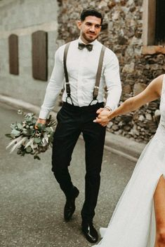 Stylish Groom Attire For Bohemian Wedding ★ groom attire with suspender t shirt with bow tie melendephotography wedding attire 18 Stylish Groom Attire For Bohemian Wedding Casual Groom Attire, Groom And Groomsmen Attire, Groom Outfit, Rustic Groomsmen Attire, Groom Tux, Groom Suits, Groom Suspenders, Bow Tie Groom, Wedding Suspenders