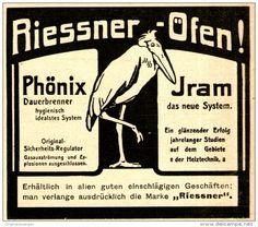 Original-Werbung/ Anzeige 1909 - RIESSNER ÖFEN / PHÖNIX - IRAM / MOTIV MARABU - ca. 80 x 75 mm