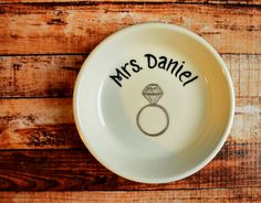 Personalized Engagement Gift for the Bride by loveandwhiskers, $34.00, custom engagement ring holder.  Great shower gift for the bride to be.