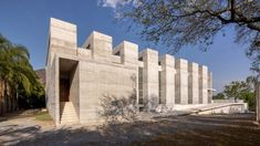 This minimalist chapel outside of Monterrey in northern Mexico by WRKSHP was designed with a limited palette of materials that allow natural light to define the spacious interiors. Travertine, Concrete, Mexico, Minimalist, Rammed Earth, Dezeen, Beautiful Architecture, Natural Light, Building