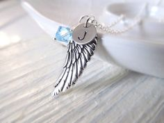 Personalized Necklace Silver Wing with Birthstone and by IrinSkye, $24.00