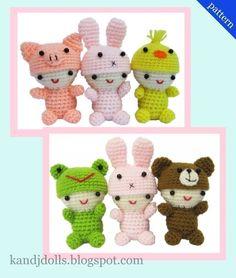 Little Babies with cute Animal caps  PDF Crochet by kandjdolls, $5.99