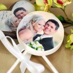 """These chocolate lollipops will be a hit at your next event. Choose a design that compliments your wedding or make it truly unique by having your photo printed right on the lollipop. These favors will surely """"stick out!"""" in their minds. Edible Wedding Favors, Beach Wedding Favors, Wedding Candy, Unique Wedding Favors, Bridal Shower Favors, Party Favors, Wedding Ideas, Wedding Stuff, Wedding Inspiration"""