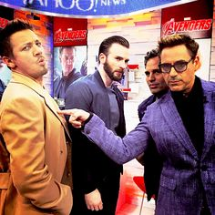 Robert Downey Jr, Chris Evans, Mark Ruffalo and Jeremy Renner takeover Time Square on Good Morning America, April 24, 2015