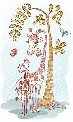 Giraffe and Momma Giraffe Decor, Giraffe Art, Giraffe Drawing, Majestic Animals, Animals Beautiful, Cute Animals, Giraffe Pictures, Llama Pictures, Little Giraffe