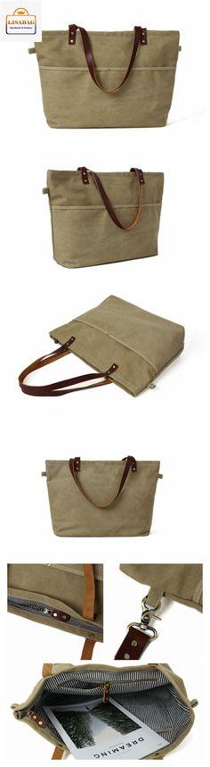 Handmade Khaki Canvas Tote Bag Messenger Bag Shoulder Bag School Bag Handbag 14022