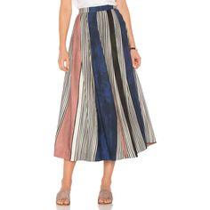 Mara Hoffman Helen Midi Skirt ($250) ❤ liked on Polyvore featuring skirts, white skirt, white midi skirt, calf length skirts, tencel skirt and white knee length skirt