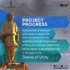A committee of historians and museum experts has been constituted for the selection of Sardar Vallabhbhai Patel related artifacts and archival material that will be placed in the exhibition hall in the base of the Statue of Unity Vallabhbhai Patel, Historian, Unity, The Selection, Museum, Statue, Projects, Log Projects, Blue Prints