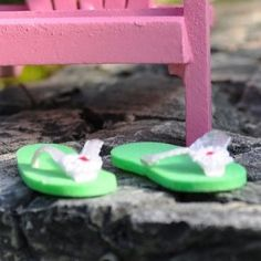 Miniature Fairy Garden Miniature Flip Flops Green *** Check this awesome product by going to the link at the image. (This is an affiliate link)
