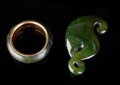 Gold and jade ring and pendant #EBTH