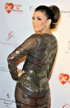 Eva Longoria Photos - Eva Longoria wears a sheer metallic beaded gown as she attends The Global Gift Gala held at the Four Seasons Hotel. - Eva Longoria at The Global Gift Gala Eva Longoria, Summer Hairstyles, Girl Hairstyles, Gabrielle Solis, Elegant Ponytail, High Ponytails, Male Magazine, Trends, American Actress