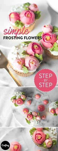 These simple frosting flowers are a beautiful and easy way to dress up a cake this spring. #caketutorial